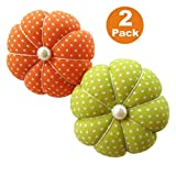 Orange and Green Polka Dot Wrist Pin Needle Cushion Pincushion Wearable Cute Small Size Pumpkin Pins Needles...