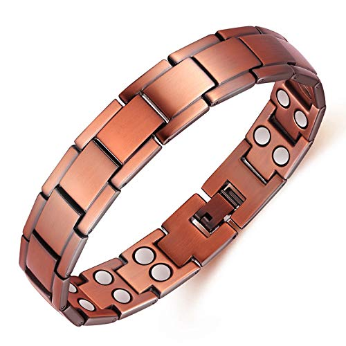 Saifei Copper Bracelet For Men Double Row Magnetic Therapy Bracelets Pain Relief For Arthritis And Tennis Elbow 8.5 Inch Adjustable 99.9% Copper 3500 Gauss Magnet Bracelets
