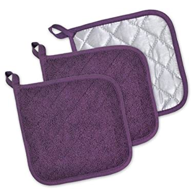 DII Cotton Terry Pot Holders, 7x7 Set of 3, Heat Resistant and Machine Washable Hot Pads for Kitchen Cooking and Baking-Eggplant