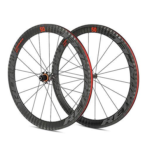MAIKONG Carbon 700C Rennrad Laufradsatz 50mm Felgenversiegeltes Lager Vier Palin Flower Drum Top 18 Löcher Nach 21 Löchern Geeignet für Straßenrennen,A,1