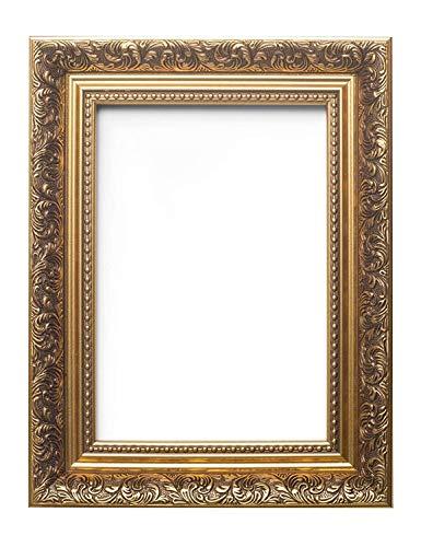 Or - Cadre Photo/ Cadre pour Posters style Baroque Français Orné et style Antique - La moulure en polcore mesure 58 mm de largeur et 38 mm de profondeur - A3