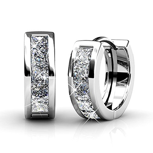 Cate & Chloe Giselle 18k White Gold Plated brass Crystal Hoop Earrings with Swarovski, Small Hoops, Hypoallergenic