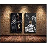 Lionel Messi, Cristiano Ronaldo Gemälde Druck auf Leinwand HD Abstrakte Leinwand Malerei Büro Wandkunst Wohnkultur Wandbilder-60x90cmx2pcs-No Frame