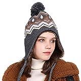 Comhats Winter Thick Peruvian Beanie Hat for Women Girl Wool Warm Ski Earflap Pompom Fur Skull Cap Gray