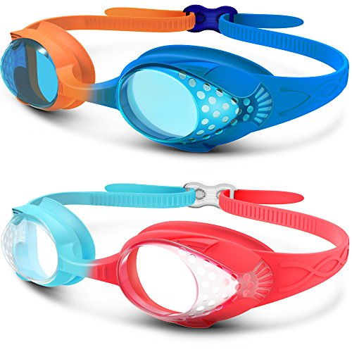 Kids Swim Goggles 2 Pack - Quick Adjustable Strap Swimming Goggles for Kids - B
