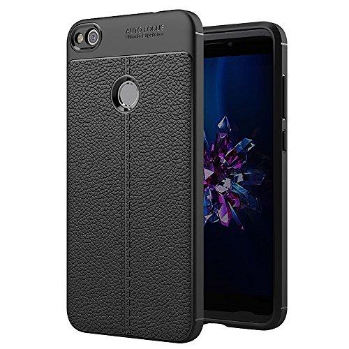 Dmtrab para Para Huawei P8 Lite (2017) Litchi Texture TPU Funda Protectora de protección (Negra) (Color : Black)