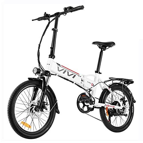 VIVI Electric Bike for Adults,20'' E Bike for Men Women/250W Folding Bike with 36V 8Ah Battery,Professional 7 Speed City Ebike (White red)