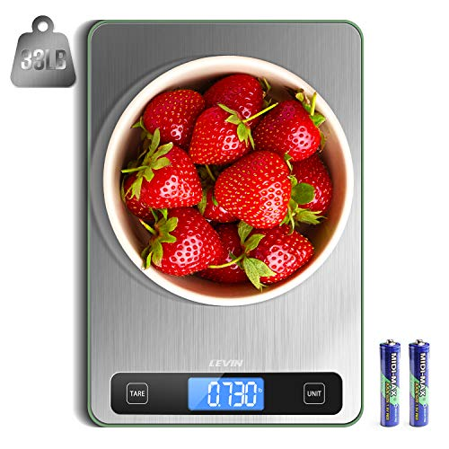LEVIN Food Scale, 33lb Digital Kitchen Scale with 1g/0.05oz Precise Graduation, 5 Units LCD Display...