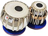 Tabla Drums Set, Deluxe Steel Bayan 2 KG, Chrome Finish, Sheesham Wood Dayan, Hand Made Drum Skin, Leather Straps to Tune, Tuning Hammer, Pegs, Gig Bag, Cushion & Cover, Best For Student & Beginner