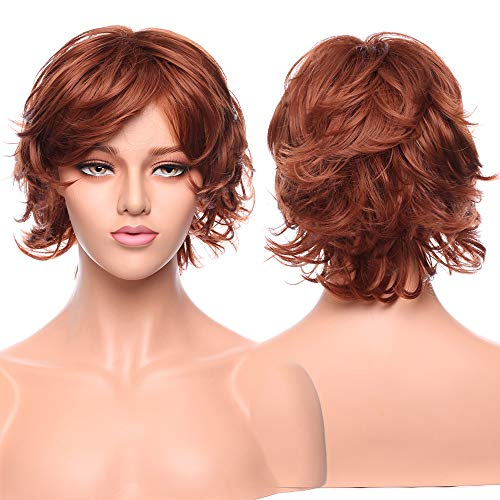 Short Auburn Wispy Loose Curls Pixie Wig Heat Resistant Sysnthetic Hair Full Wig For Women Lady Natural Cosplay Party