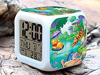 Cartoon Winnie The Pooh Digital LED 7 Changed Colorful Light Alarm Clocks Thermometer Night Electronic Kids Toys Best Gift for Children (Style 16)