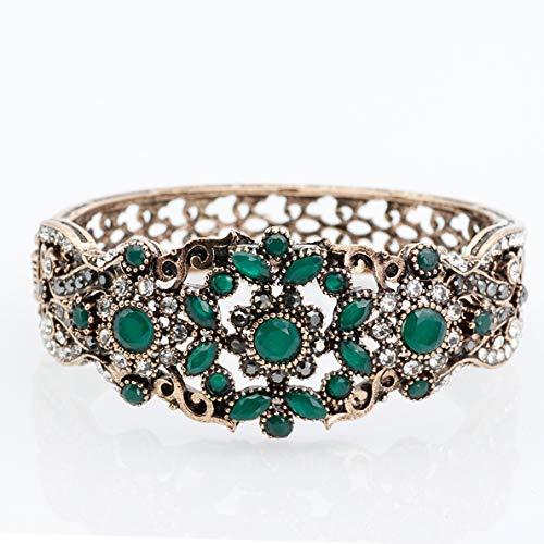 Armband,Türkische Vintage Armreif Für Frauen Antique Gold Farbe Strass Armband Armreif Hohl Blume Retro Hochzeit Schmuck Grün