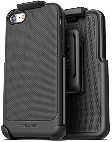 Encased iPhone SE Belt Clip Case (2020) Slim Grip Cover (Thin Armor) with Holster (Black)