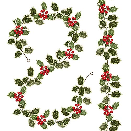 Woooow 2Pack Christmas Red Berry Garland, Artificial Foliage Greenery Fireplace Décor & Home Xmas Decoration Indoor/Outdoor Decorations