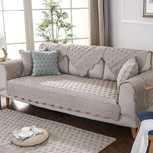 YUTJK Composable Sofá Cubierta,Cojines de sofá Bordados en Relieve,Toallas de algodón Antideslizantes,Cojines de Silla,alfombras de Piso-Khaki_90*160cm