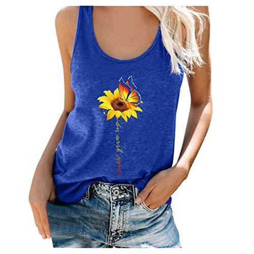 YAnGSale Top Women T-Shirt Sunflower Print Tee Tops Short Sleeve Shirts Plus Size Blouse Comfy Tunics Vest Streetwear (Bule 2, M)