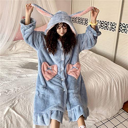HUANSUN Camisones Mujer Invierno Grueso CoralBolsillo Niñas Homewear Moda Camisones Camisón, Azul, L