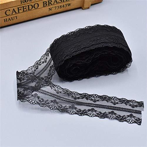 10 meter wit kant lint tape 40mm brede rand diy handwerk geborduurd net koord voor naaien decoratie afrikaanse kant stof, zwart
