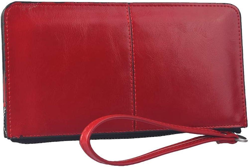 Hxt portafoglio porta carte di credito da donna in pelle sintetica rosso
