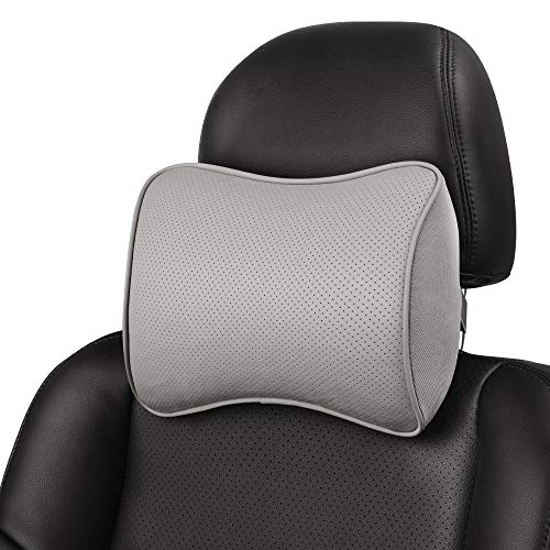 Aukee Headrest Pillow, Car Memory Foam Car Neck Pillows Soft Leather for Driving Home Office Gray...