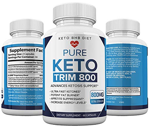 Keto Trim 800 Pills - Keto Trim BHB Diet Pill Supplement for Energy, Focus - Exogenous Ketones for Rapid Ketosis - Ketogenic BHB for Men Women (60 Capsules) 1