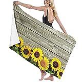 XCNGG Toallas de baño Girasol Amarillo Madera rústica para niños Adultos Toallas para la Escuela de natación Toallas de Microfibra para Hotel Regalos de Verano 32 X 52 Pulgadas