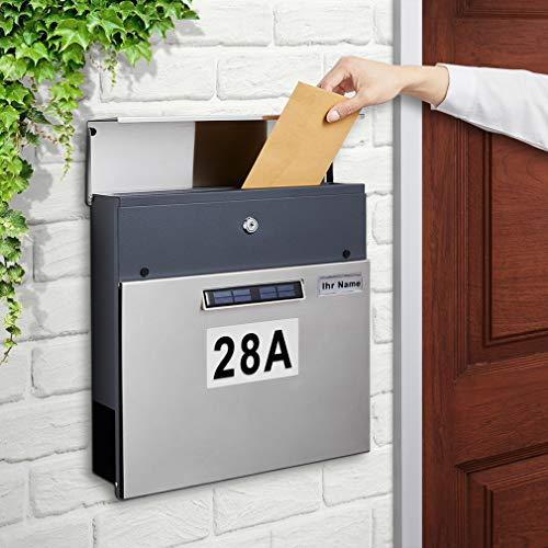 BONADE Edelstahl Briefkasten Solar Postkasten mit Beleuchteter Hausnummer Wandbriefkasten Automatische Nachtbeleuchtung, Zeitungsfach, Namensschild, 2 Schlüsseln