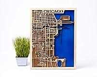 シカゴ ウォールデコ スモールスケールマップ ギフト 3D木製シティマップ 女性へのクリスマスギフト USAウォールアート シカゴ3D木製マップ 都市木製マップ シカゴ木製マップ 男性への誕生日ギフト L