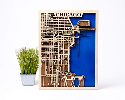 Chicago Wall Decor Small Scale Map Gift 3D Wooden City Map Xmas Gift for Woman USA Wall Art Chicago 3D Wooden Map City Wooden Map Chicago Wooden Map Birthday Gift for Man (Large)