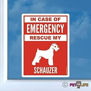 in Case of Emergency Rescue My Schnauzer Sticker Vinyl Auto Window #2 Dog Safety
