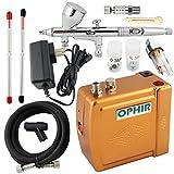 OPHIR Kit de aerógrafo de doble acción de 3 puntas de 12 V dorado mini compresor de aerógrafo modelo Hobby Crafts Cake
