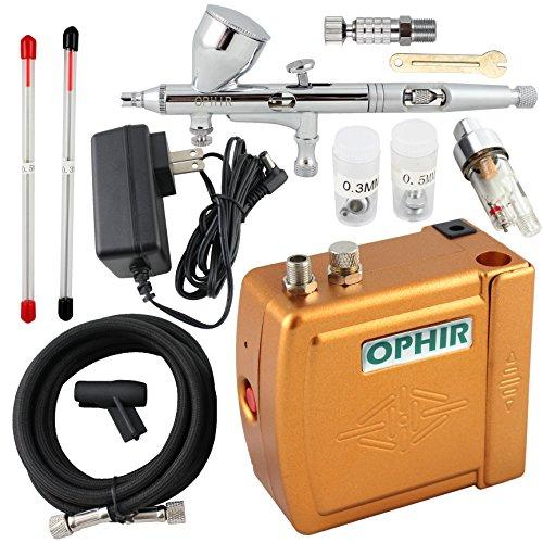 Ophir 3consejos doble acción aerógrafo Kit 12V Golden Mini aerógrafo compresor modelo Hobby manualidades para tartas