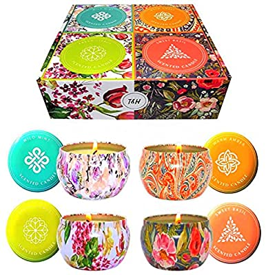 Aromatherapy Scented Candles Essential Oils Natural Soy Wax Portable Travel Tin Candle Set of 4 Gift 6 Ounce tins 140 Hour Burn Long Lasting Fresh Citrus, Warm Amber, Wild Mint, Sweet Basil