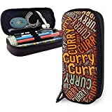 Curry - Estuche de lápices de cuero de alta capacidad de apellido americano, lápiz, lápiz, papelería, organizador, lápiz de maquillaje escolar, bolsa de cosméticos portátil