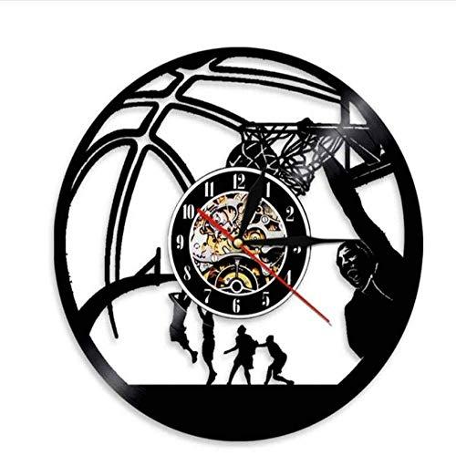 Basketball-SpielerEinhand-Jam Clock Vintage Schallplatte Wanduhr Basketball JumpShot Sports Decor