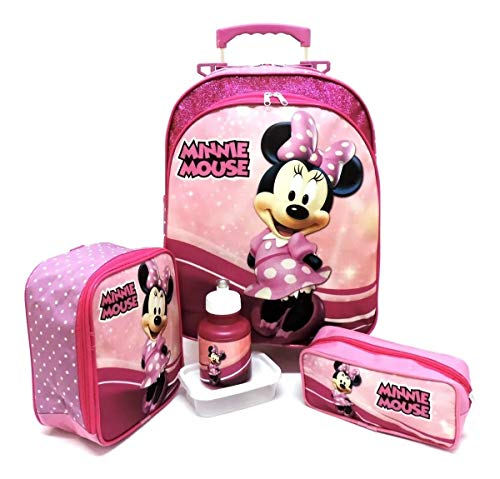 Kit Mochila Infantil Escolar Minnie Glitter Rodinhas G F5