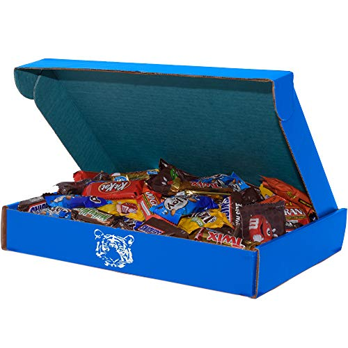Milk Chocolate Candy (80 oz) Gifts for Office by SupplyTiger with KitKat, 100 Grand, Peanut M&M's, Twix, Snickers, MilkyWay, Reese's, Almond Joy, York, and Milk Chocolate M&M's, 13x10x2 Blue Box