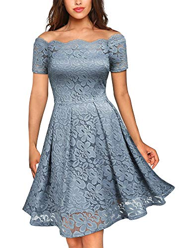 MISSMAY Women's Vintage Floral Lace Short Sleeve Boat Neck Cocktail Party Swing Dress, Small, Blue Grey