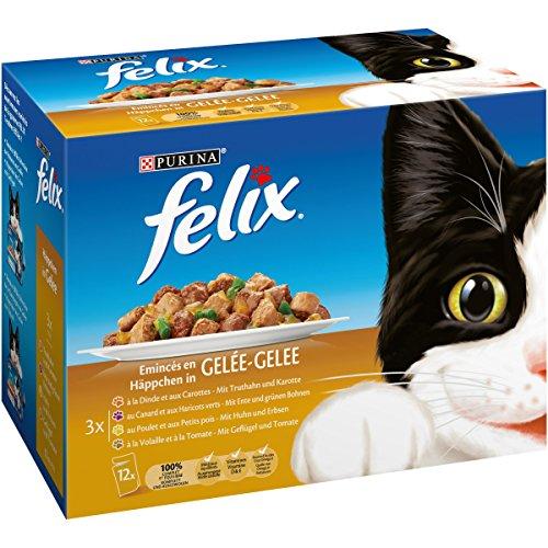 FELIX - En Gelée Volaille-Légumes : Poulet-Petits Pois, Dinde-Carottes, Volaille-Tomates, Canard-Haricots Verts - 12x100g - Lot de 6