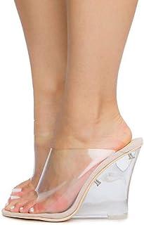 9c1357b9bd7 Michelle Parker Cape Robbin Lemonade Transparent Clear Nude Foot Bed Lucite  Wedge Heel Mule