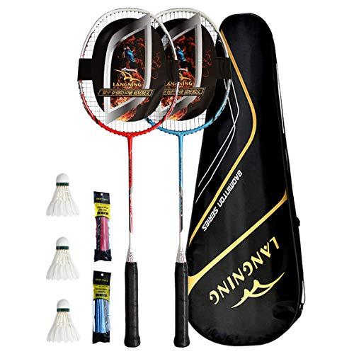 LANGNING 2er-Pack Badmintonschläger Full Carbon Home Training Set Der ganze Schläger ist aus Kohlefaser, inklusive 3 Badminton-Federbälle/2 Griffe/1 Badminton-Tasche, Rot/Blau