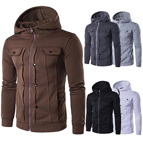 Zulmaliu Jacket For Men, Autumn Winter Full Zip Hooded Cardigan Coat (White, XL)