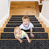 CrystalMX Non-Slip Carpet Stair Treads, Anti Moving Grip and Beauty Rug Tread Safety for Kids Elders and Dogs, 8' X 30' (Charcoal Grey, Set of 15)