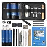 *YOTINO *35Pcs Professional Dibuix d'Art i Llapis Dibuix Conjunt de Llapis de Carbó, Llapis de Grafit, Esborrany Etc Eina de Dibuix al llapis Complet amb Borsa de Cremallera Portàtil