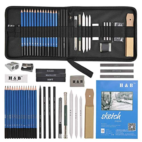 YOTINO 35Pcs Profesional Dibujo de Arte y Lápiz Dibujo Conjunto de Lápiz de Carbón, Lápiz de Grafito, Borrador Etc Herramienta de Dibujo a Lápiz Completo con Bolsa de Cremallera Portátil