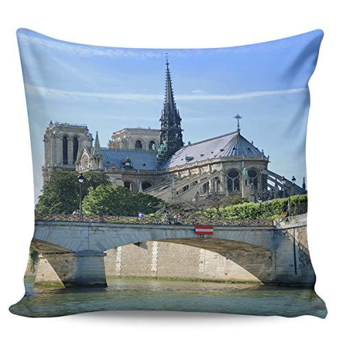 Scrummy Fundas de almohada de 50,8 x 50,8 cm, diseño romántico de castillo clásico, hermoso edificio de iglesia, azul cielo nube, funda de cojín cuadrada para decoración del hogar