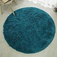 手洗いOK 洗える ウォッシャブル 抗菌 消臭 ペット対応 ホットカーペット対応 床暖房対応 滑り止め付き シャギー マイクロファイバー ふわふわラグ <マフィン> 円形140cm ターコイズ ブルー