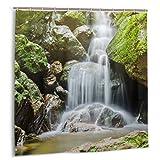 ZHENG Set de Cortinas de baño para decoración de baño,la Hermosa Cascada en el Bosque Profundo en el Parque Nacional Khao Yai,Tailandia Cortinas de baño de Tela con Ganchos 60x72in