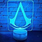 3d Led Lámpara de Luz Nocturna Juego Assassins Creed Logo Luz Nocturna Regalo para Niños Dormitorio Decoración Color cambiante Niño Sala de Estudio Lámpara 3d