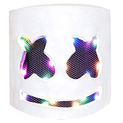 Miminuo DJ LED Máscara Music Festival Light Up Casco Máscara Full Head Máscara Disfraces de Halloween Cosplay Party Props Máscara
